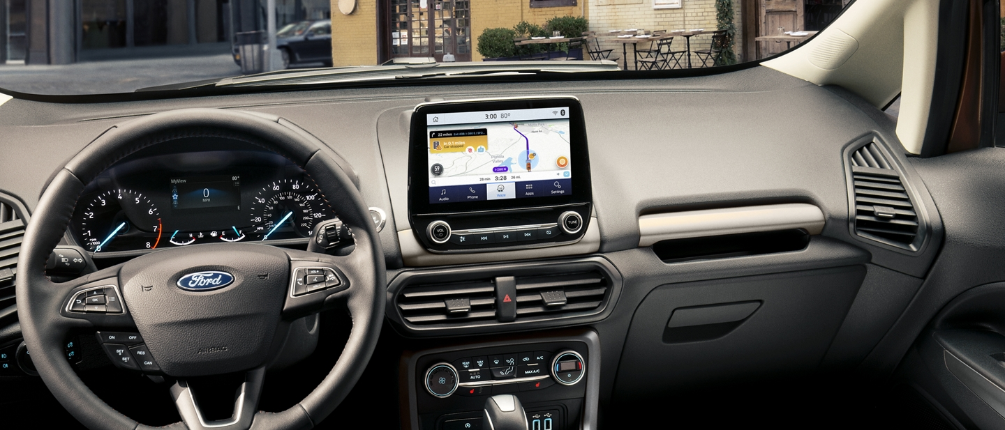 A look at the dashboard of the 2020 Ford EcoSport with Waze navigational maps shown on the available 8 inch touchscreen