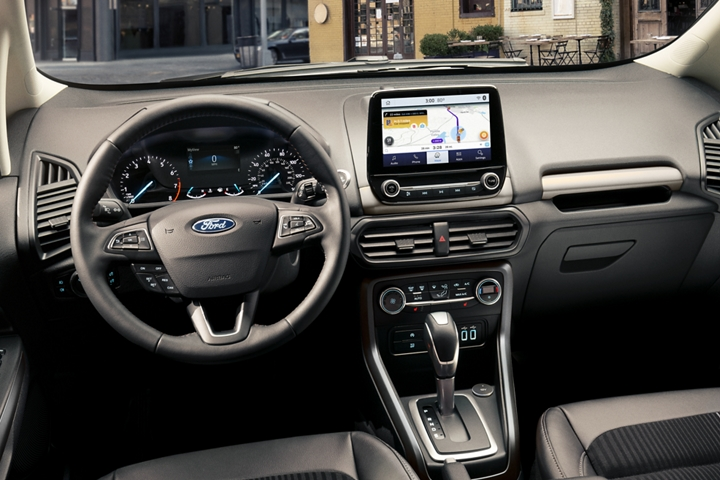 A look at the dashboard of the 2020 Ford EcoSport with Waze navigation maps shown on the available 8 inch touchscreen