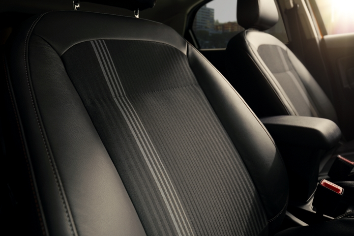 The 2020 Ford EcoSport S E S interior looks good with Active X seating material and unique metal grey fabric inserts