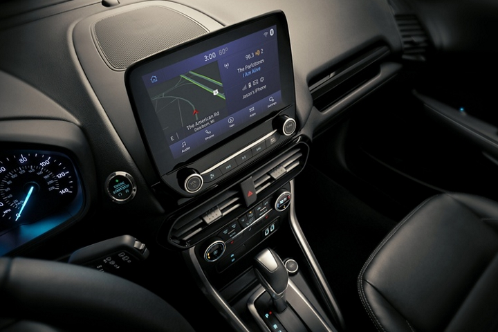 Close up of the centre touchscreen with waze