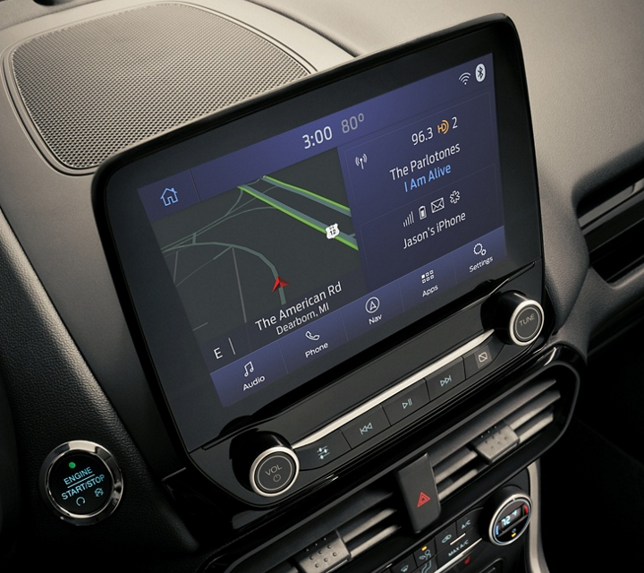 2020 Ford EcoSport centre stack with available 8 inch touch screen