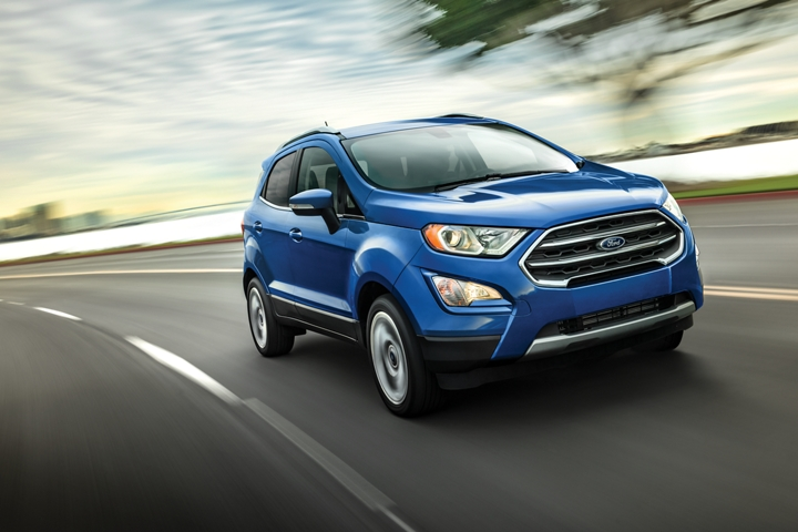 A 2020 Ford EcoSport going around a curve