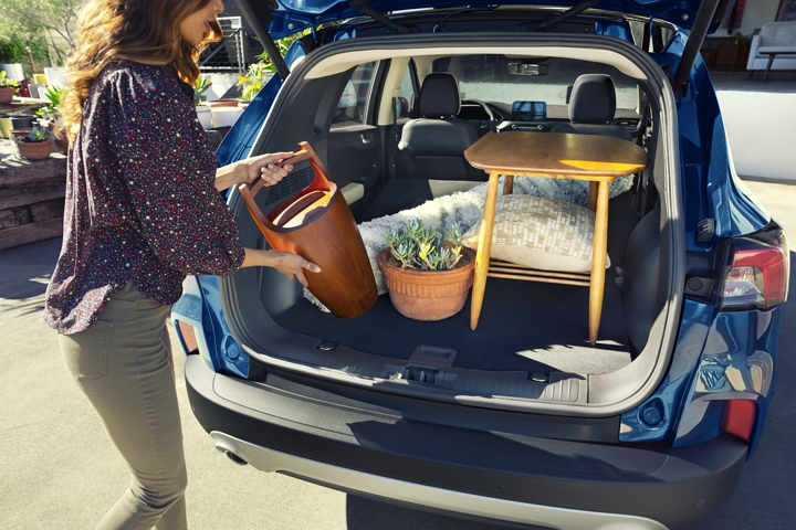 Available rear cargo space of 2020 Ford Escape Hybrid Titanium in Velocity Blue