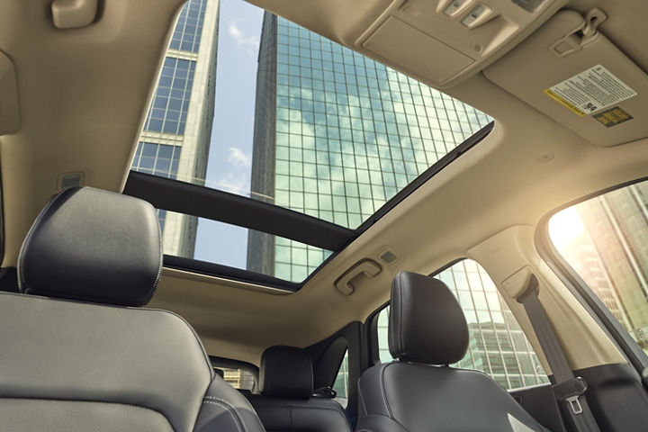 Looking out and through the available panoramic Vista Roof