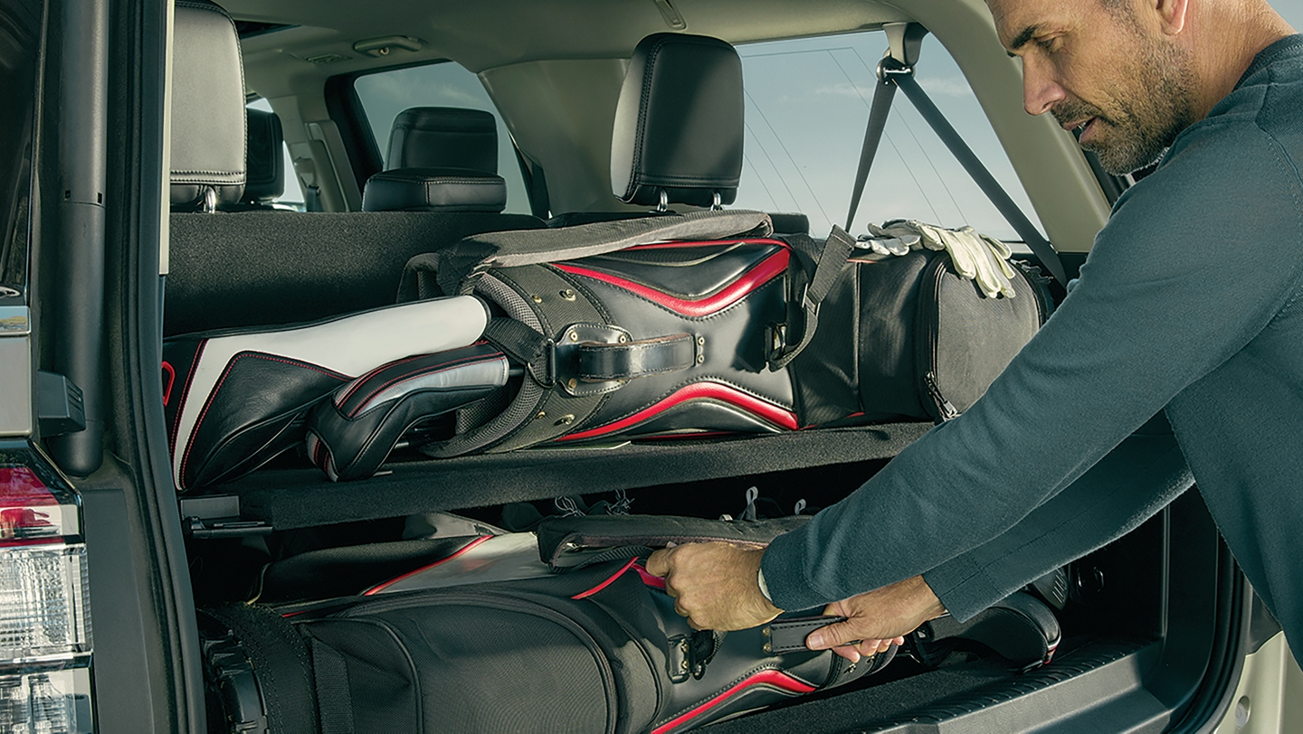 The rear cargo area of the 2019 Ford Expedition loaded with luggage and gear