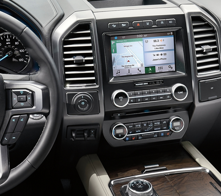 The instrument panel and centre console inside the 2019 Ford Expedition