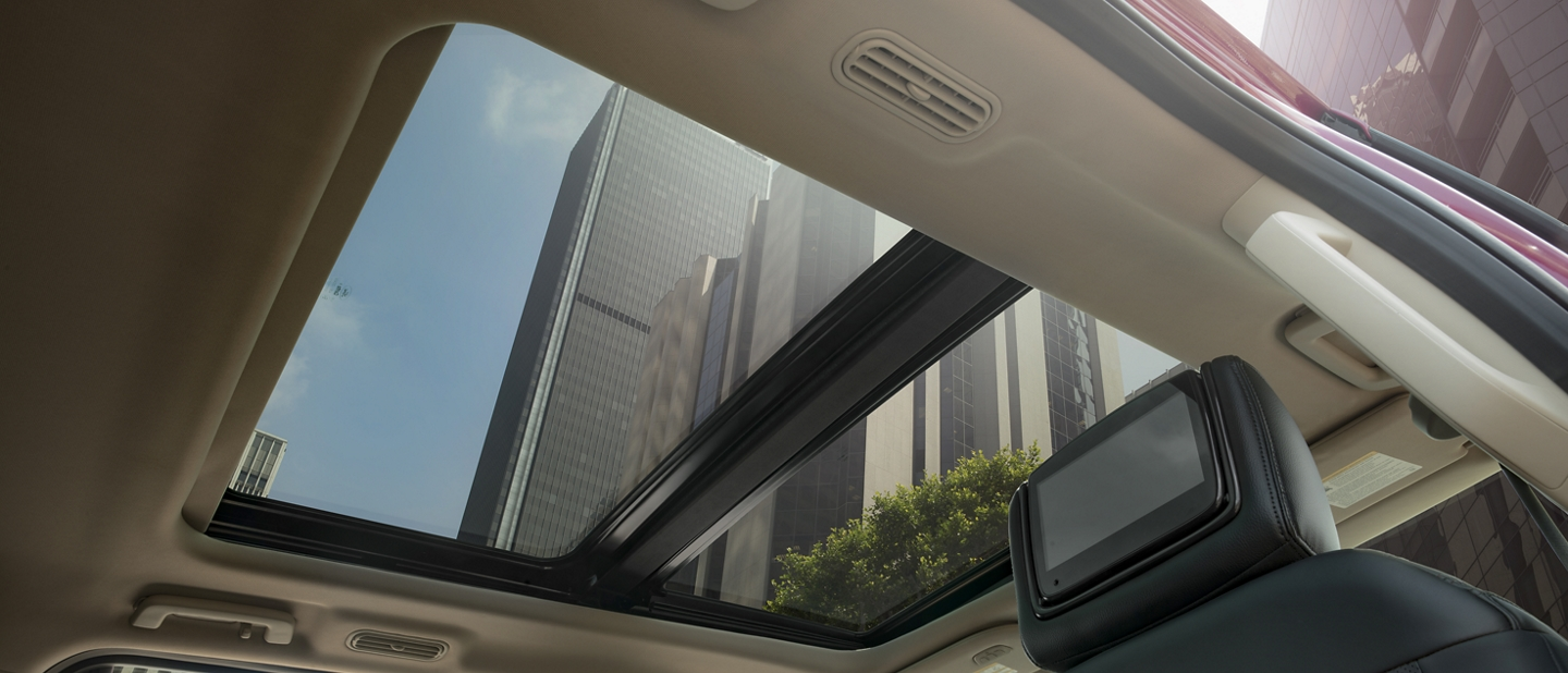 Interior view looking up at available panoramic Vista Roof