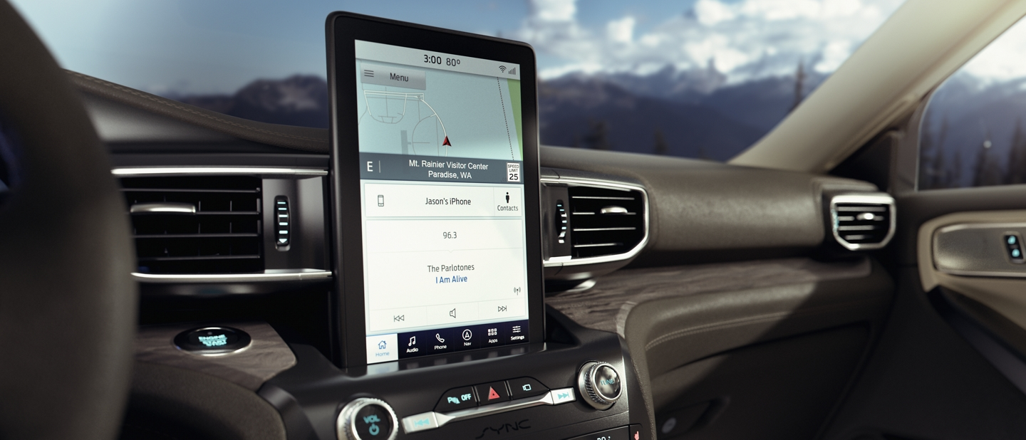 A close up view of an Explorer dashboard featuring a portrait touchscreen in the centre stack