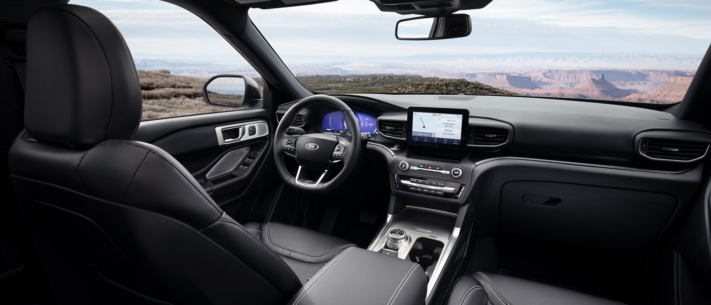 Interior view of the explorer S T leather seating surfaces with micro perforation and accent