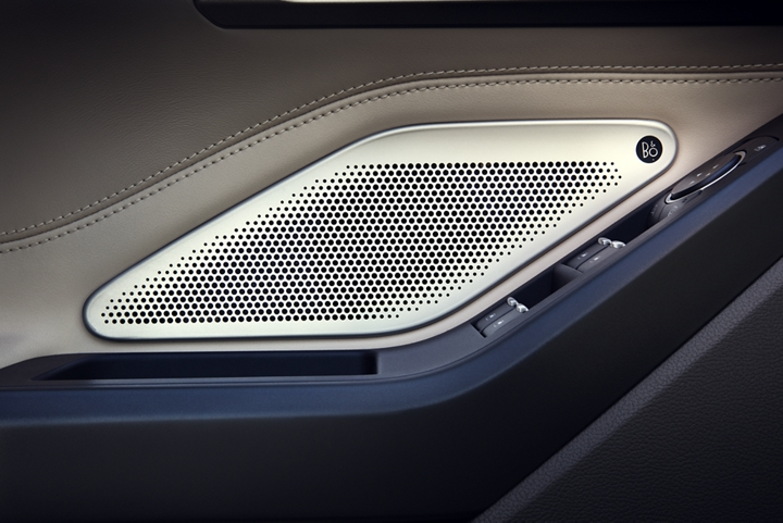 Close up of a B and O Sound System speaker
