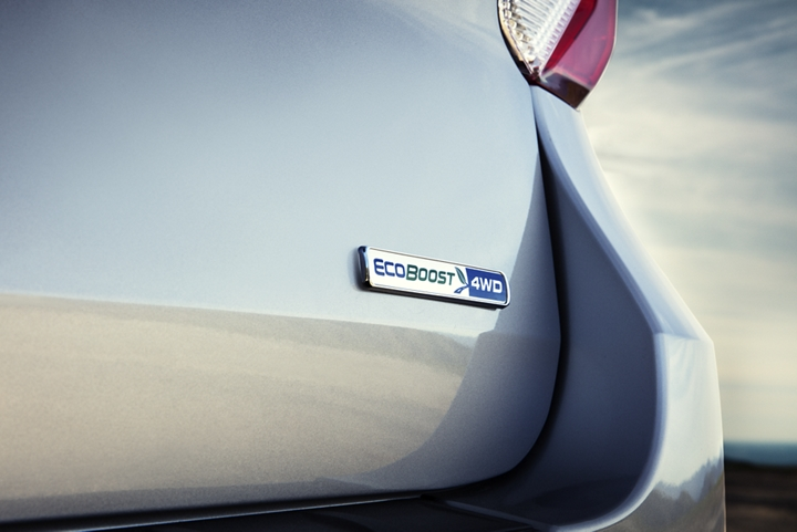 A close up of the EcoBoost badging on the rear of a 2020 Explorer