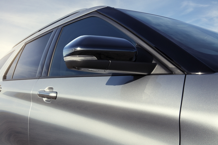Close up of a side view mirror