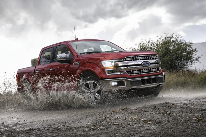 2020 Ford F 1 50 4 by 4 going through wet off road terrain