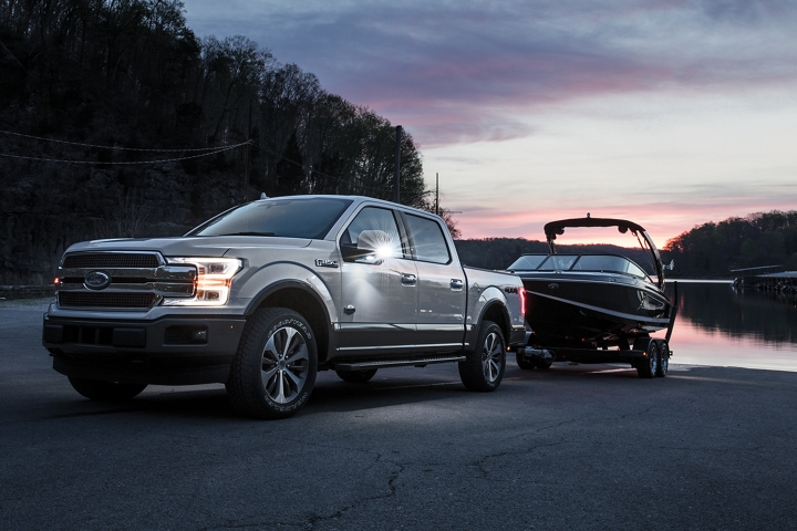 2020 Ford F 1 50 King Ranch Trademark towing boat out of lake