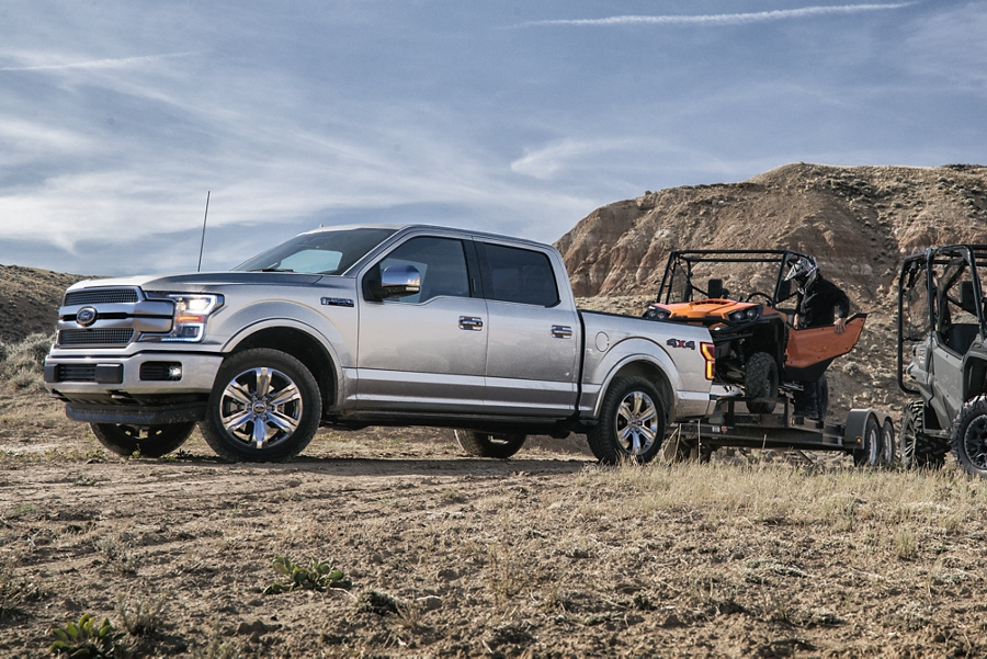 2020 Ford F 1 50 with trailer carrying off road vehicle