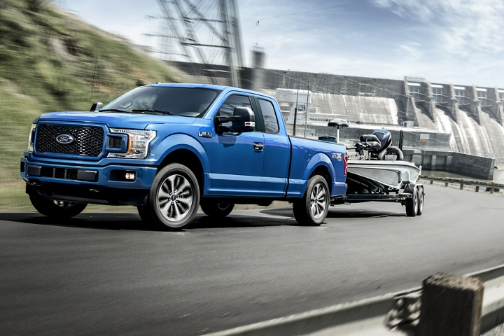 2020 Ford F 1 50 S T X towing a boat