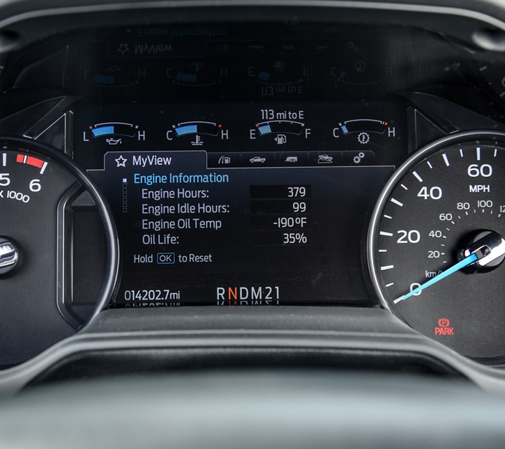 2021 Ford Medium Duty Digital Instrument Cluster with Intelligent Oil Life Monitor showing engine information