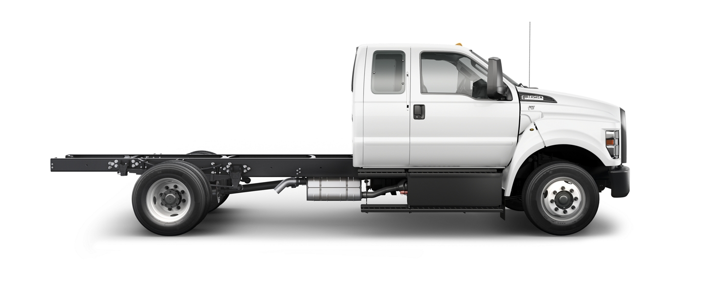 Side profile view of the 2021 Ford F 6 50 Gas Pro Loader shown in Oxford White