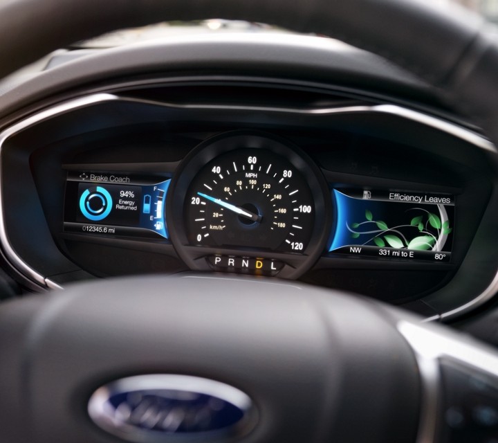 Hybrid Titanium instrument cluster showing smartgauge with ecoguide