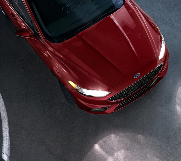 A 2020 Ford Fusion in Rapid Red Metallic