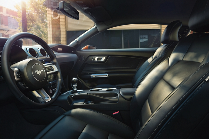 2020 Ford Mustang interior in Ebony Black with leather trimmed seats