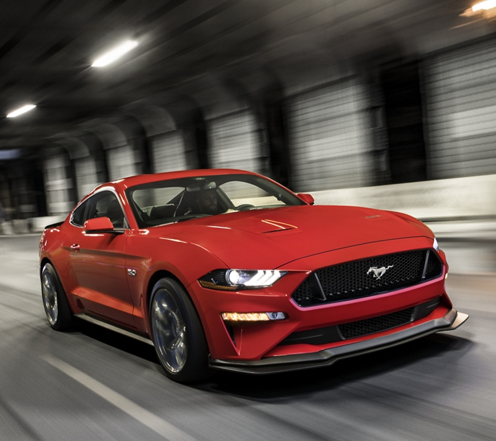 2020 Ford Mustang in Rapid Red with the Performance Package Level Two