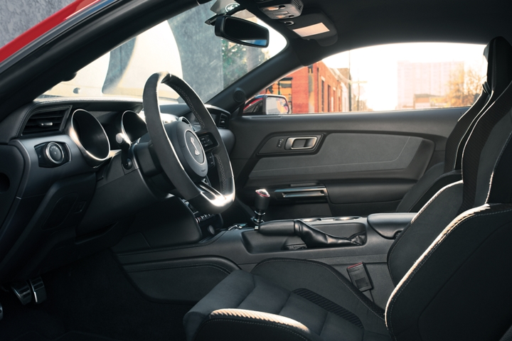 A close up of the 2020 Ford Mustang Shelby G T 3 50 interior shown in Ebony
