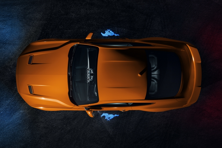 Overhead view of the 2020 Ford Mustang in Twister Orange Metallic tinted clearcoat