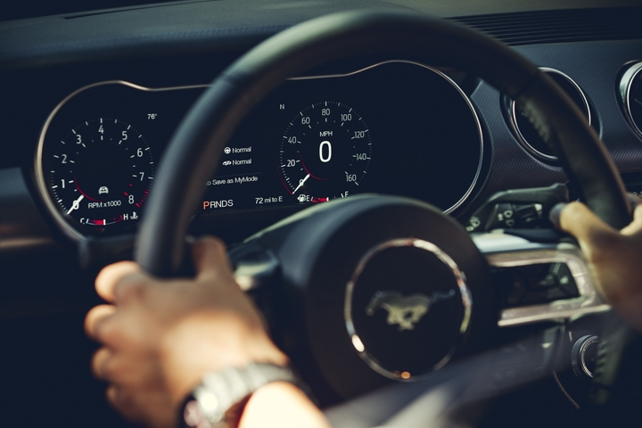 Close up of the 12 inch digital L C D instrument cluster and the heated steering wheel
