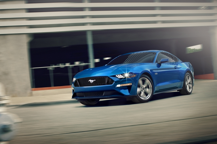View of 2020 Ford Mustang G T Premium in Velocity Blue seen on the street