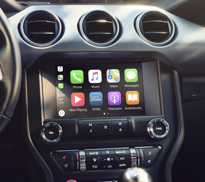 Cockpit of the 2020 Ford Mustang with an eight inch touchscreen