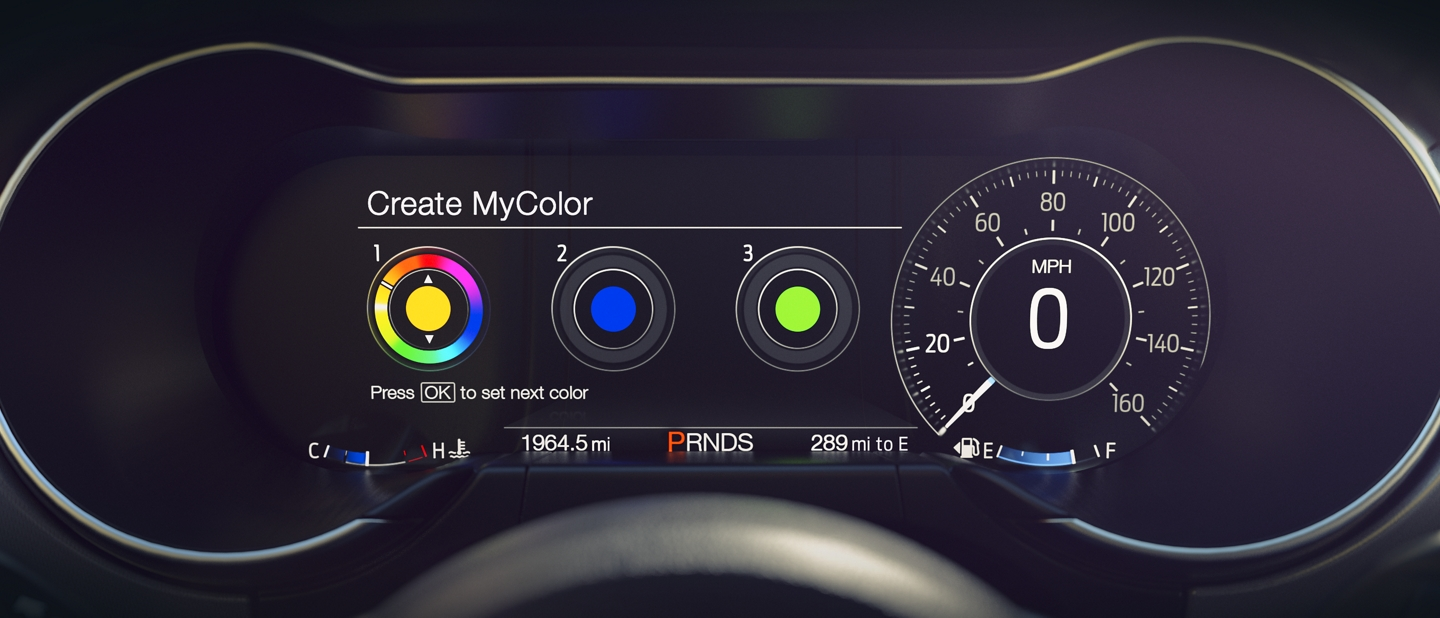 A close up of the customizable instrument cluster with my color and my mode