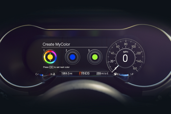 Close up of the 12 inch digital L C D instrument cluster with My Color
