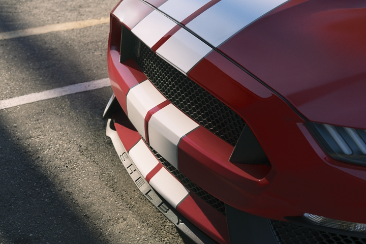 Front end of a 2020 Ford Mustang Shelby G T 3 50 with over the top racing stripes
