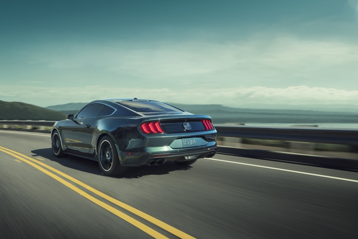 2020 Ford Mustang BULLITT in Dark Highland Green with a body of water background