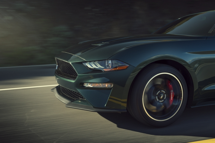 Close up of a 2020 Ford Mustang BULLITT with 19 inch by 9 inch five spoke heritage wheels