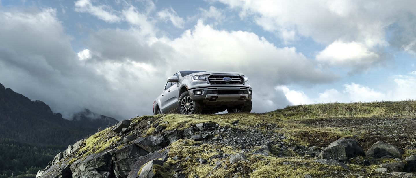2019 Ford Ranger sitting atop rocky hill