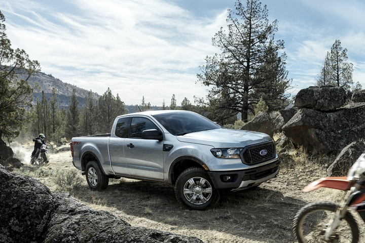 2019 Ford Ranger at off road location with trail bike riders