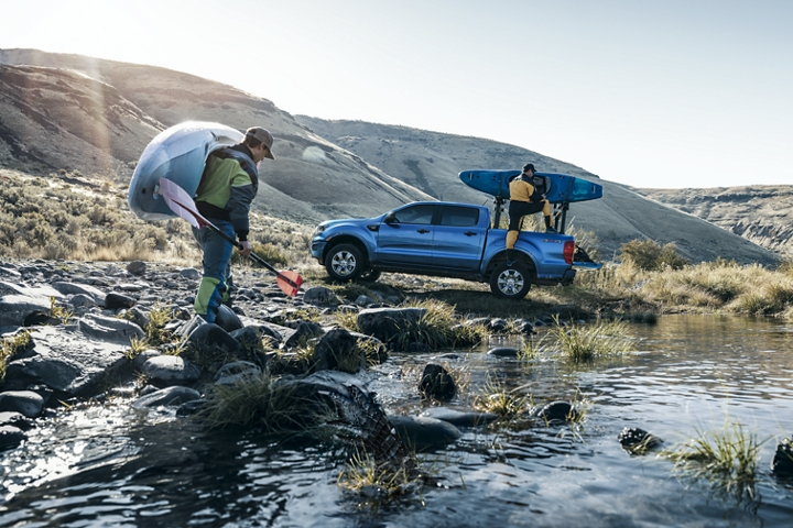 2019 Ford Ranger with kayakers at stream