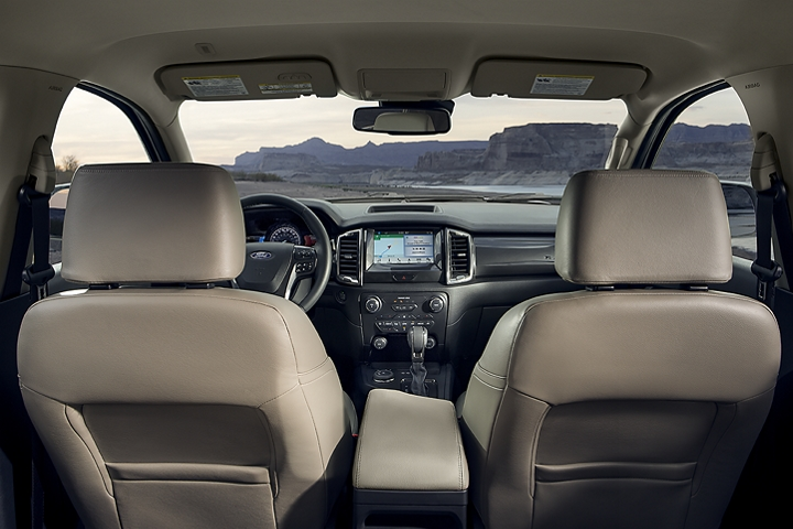2019 Ford Ranger LARIAT leather-trimmed seats from a rear passenger perspective