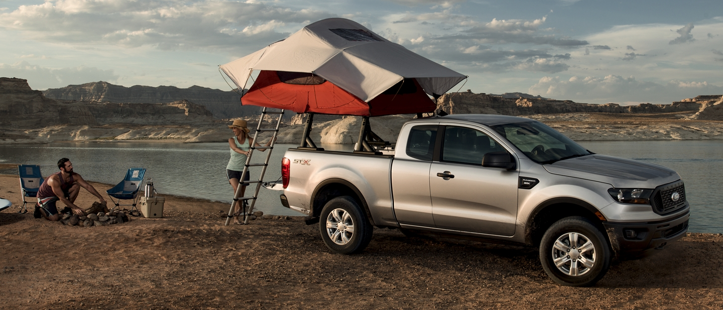 2019 Ford Ranger parked beside a lake