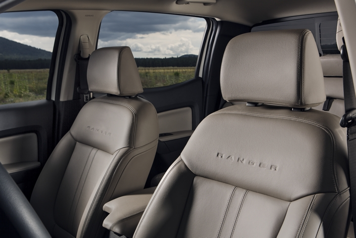 2019 Ford Ranger LARIAT leather-trimmed seats shown looking into the drivers side door