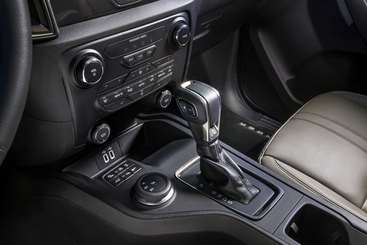 Shifter and center console of the 2019 Ranger LARIAT interior