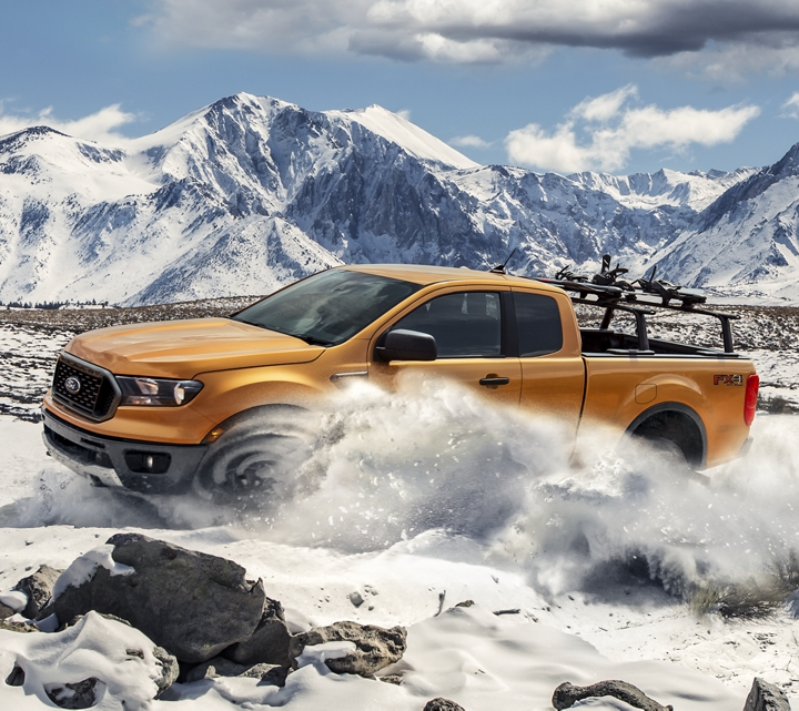 2019 Ford Ranger traveling across snow covered mountain terrain