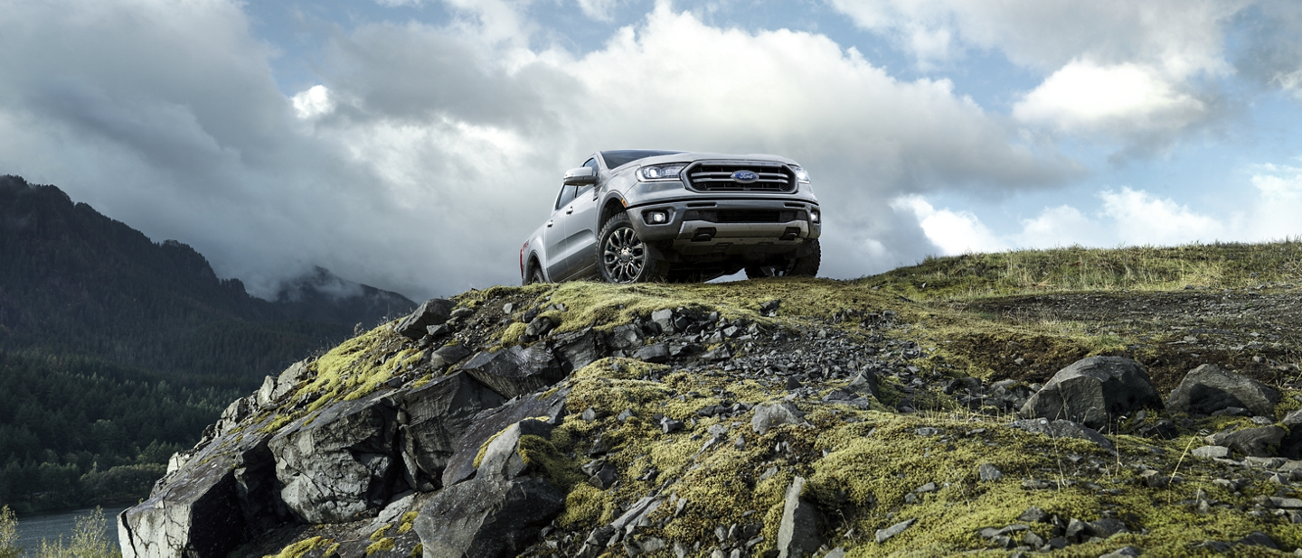 2020 Ford Ranger in Iconic Silver in the rocky wilderness