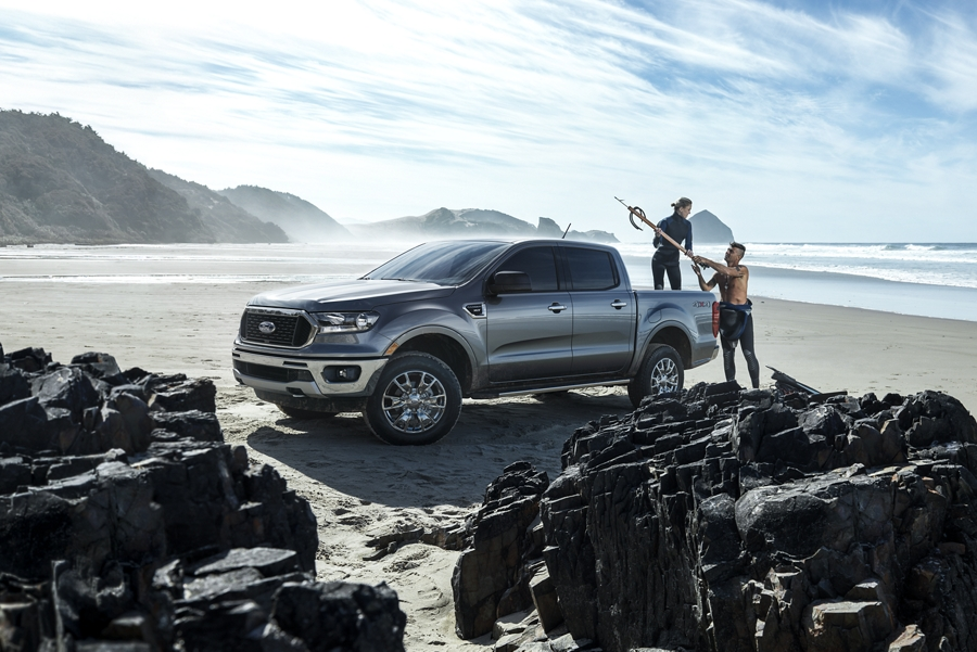 2020 Ford Ranger in Magnetic on a rocky beach