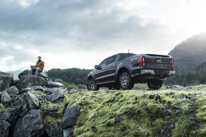 2020 Ford Ranger in Magnetic on rocky terrain