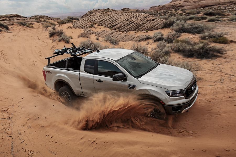 2020 Ford Ranger being driven in a sand dune