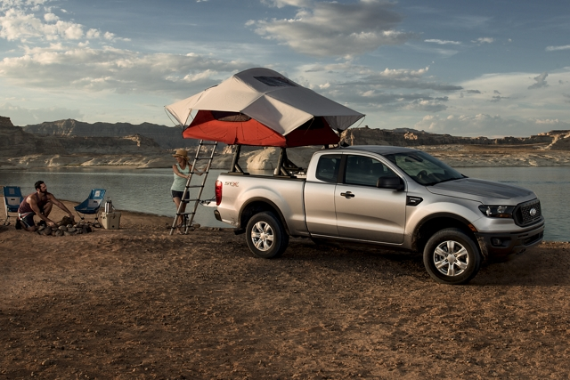 2020 Ford Ranger in Iconic Silver at desert lakefront