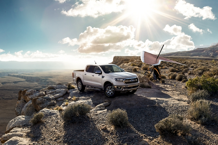 2020 Ford Ranger on rocky desert terrain with hang glider
